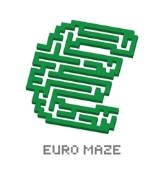 Euro business isometric green maze vector image