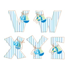 Fabric patchwork alhabet Letter V W X Y Z vector image