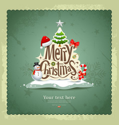 Merry Christmas Vintage design vector image