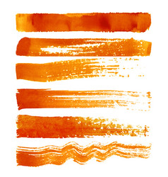 set of orange brush strokes vector image