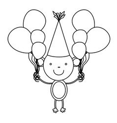 silhouette monkey with bolloons in the hands party vector image