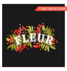 Vintage Autumn Floral Graphic Design - for T-shirt vector image vector image