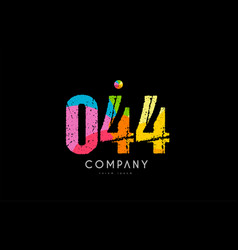 044 number grunge color rainbow numeral digit logo vector image