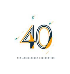 40 year retro anniversary celebration template vector