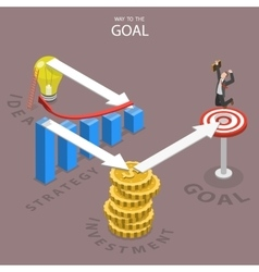 A way to the goal isometric flat vector image