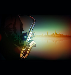 Abstract music with saxophone player vector