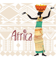 African woman in ethnic dress on ornament vector