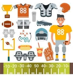 American football player and icons cartoon vector image