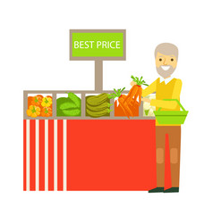 An elderly man choosing vegetables with best prise vector