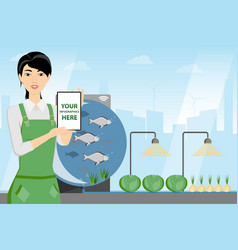 Asian woman farmer with tablet computer vector
