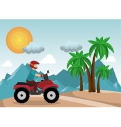 Atv driver man beach mountain background vector