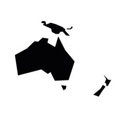 Australia and oceania black silhouette contour vector