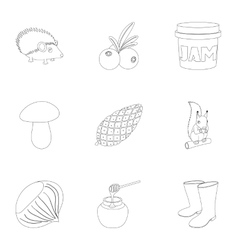 Autumn weather icons set outline style vector