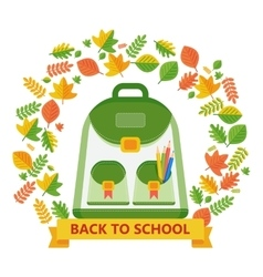 Back to school bag leavs vector