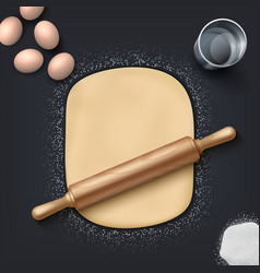 bakery dough realistic wheat flour eggs salt vector image