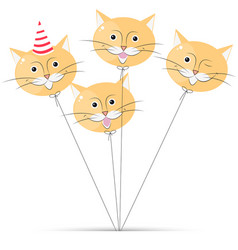Balloon cat on white background vector