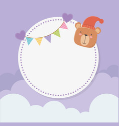 bashower circular card with bear teddy and vector image