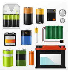 Battery pile power alkaline batteries vector