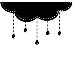 black cloud with hanging shining rain drops vector image