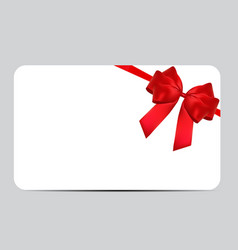 blank gift card template with red bow and ribbon vector image