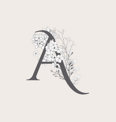 Blooming floral initial a monogram and logo vector