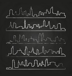 building line of town hand drawn urban vector image
