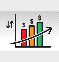 Business growth chart or bar graph flat icon vector