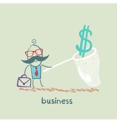Businessman catching a butterfly net dollar vector