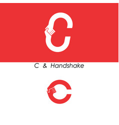 c - letter abstract icon amp hands logo design vector image