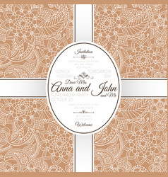 card with brown indian paisley pattern vector image