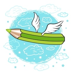 cartoon colored pencil with wings in clouds vector image