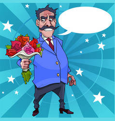 Cartoon man with a mustache wishes with flowers vector