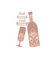 Champagne bottle and glass beer vector