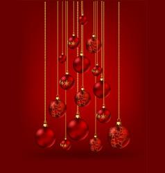 christmas tree made christmas balls on red vector image