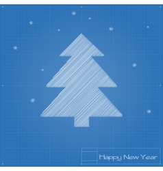 Christmas tree on blueprint vector