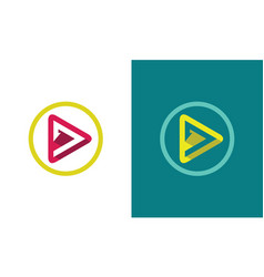 circle triangle play media logo vector image