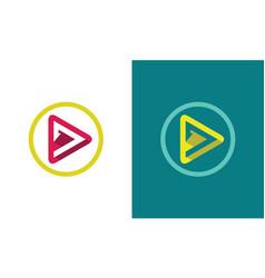 Circle triangle play media logo vector