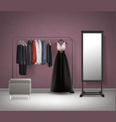 Cloakroom interior front view vector