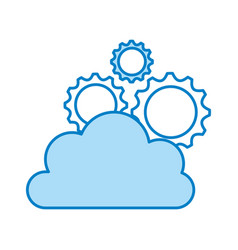 Cloud computing with gears vector