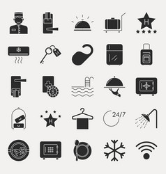collection dark hotel icons vector image