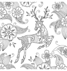 Coloring page with beautiful running deer and vector