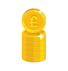 Column gold pounds isolated cartoon icon vector