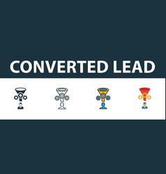 Converted lead icon set premium symbol in vector