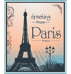Copyspace Retro Style Poster With Paris Background vector