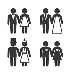 Couple getting married icons set vector