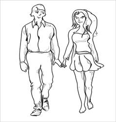 Couple Walking vector image