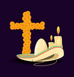 cross of day the dead with hat mexican vector image