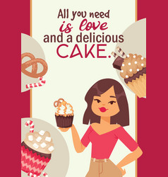 Cupcake poster design bakery cake dessert card vector