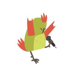 Cute bird singing with microphone funny birdie vector