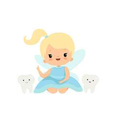 cute little tooth fairy with bateeth lovely vector image